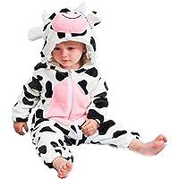 Aoile Newborn Fleece Jumpsuit Infant Baby Boys Girls Winter Cute Milk Cow Hooded Romper Costume
