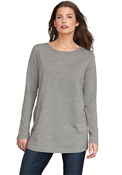 14fce9d8 Roamans Women's Plus Size Long-Sleeve Crewneck Ultimate Tee, Medium Heather  Grey, 2X at Amazon Women's Clothing store: