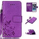 iPhone SE Case,iPhone 5S Case,iPhone 5 Case,Alkax Premium PU Leather Wallet[Kickstand]Magnet Flip Cover with Credit Card ID Card Slots[Wrist Strap]for Apple iPhone SE 5S+One Free Stylus Pen(Purple)