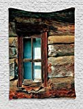 Scenery Decor Tapestry, Single Window with White Curtain on a Wooden Made Lumberjack House Photo, Wall Hanging for Bedroom Living Room Dorm, 60 W x 80 L Inches, Brown and Blue