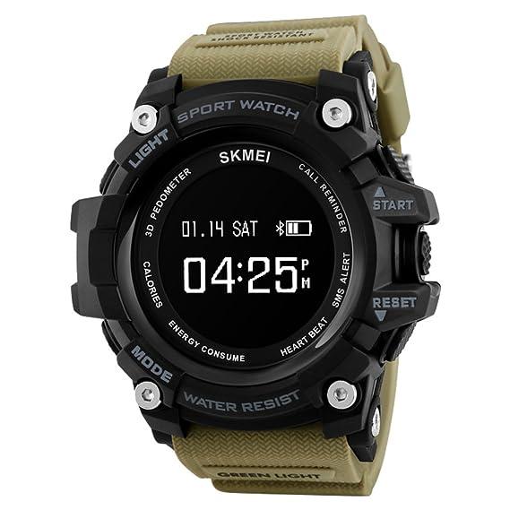 Moda reloj de,Ritmo electrónico inteligente hombre medida impermeable multifuncional simple digital reloj pulsómetro-E: Amazon.es: Relojes