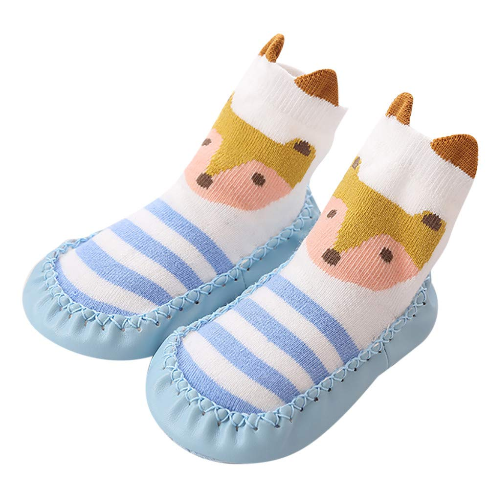 Kids Floor Socks, Inkach Baby Anti-Slip Floor Socks Boots Soft Bottom Winter Warm Slipper Shoes (12-18 Months/Tag:13, Ligth Blue) Inkach - Baby Socks