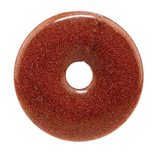 Beads Pendant Jasper Necklace (40mm Gemstone Crystals Agate Jasper Reiki Healing Chakra Donut Pendant Bead DIY Jewelry Accressory Necklace Kit (Gold Sandstone))