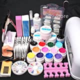 25 in 1 Combo Set Professional 9W Lamp Dryer Color UV Builder Gel DIY Nail Art Decorations Kit Brush Buffer Cuticle Revitalizer Oil Pen Tools Natural White Nail Tips Rhinestones Pearls Cutter Sanding Files Forms Glue UV Gel Set #35