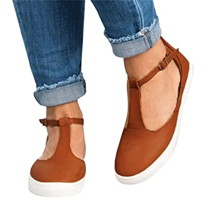2f9cf31102 Amazon.com  AIMTOPPY HOT Sale Women Vintage Out Shoes Round Toe Platform  Flat Heel single button buckle Strap Casual Shoes (US 9