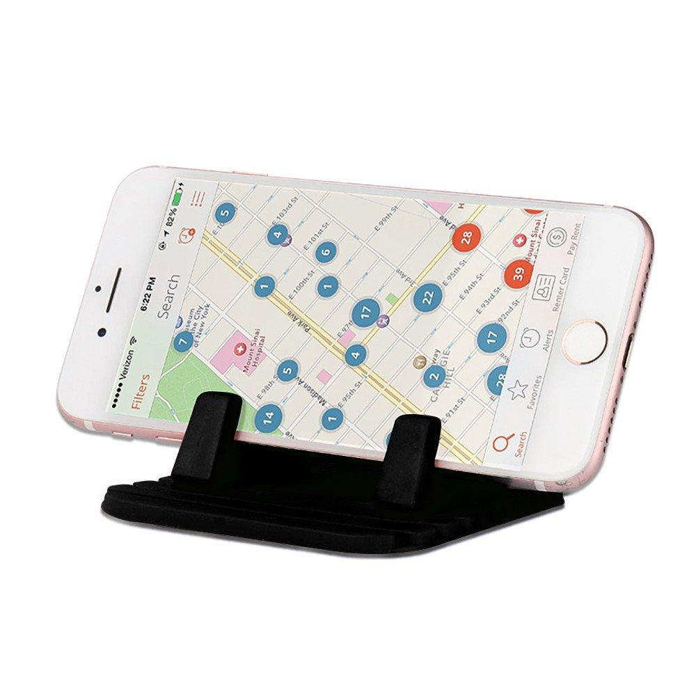 Sikye Cellphone Holder Stand,Soft Silicone Desktop Car Dash Pad Anti-Slip Phone Bracket Holder (Black)