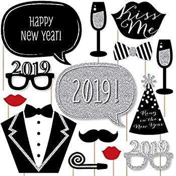 big dot of happiness new years eve party silver 2019 new year party photo booth props kit party decorations 20 count
