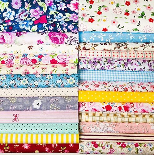 Quilting Fabric, Misscrafts Cotton Craft Fabric Bundle Squares Patchwork Pre-Cut Quilt Squares for DIY Sewing Scrapbooking Quilting Dot Pattern (25PCS 30X30cm) -