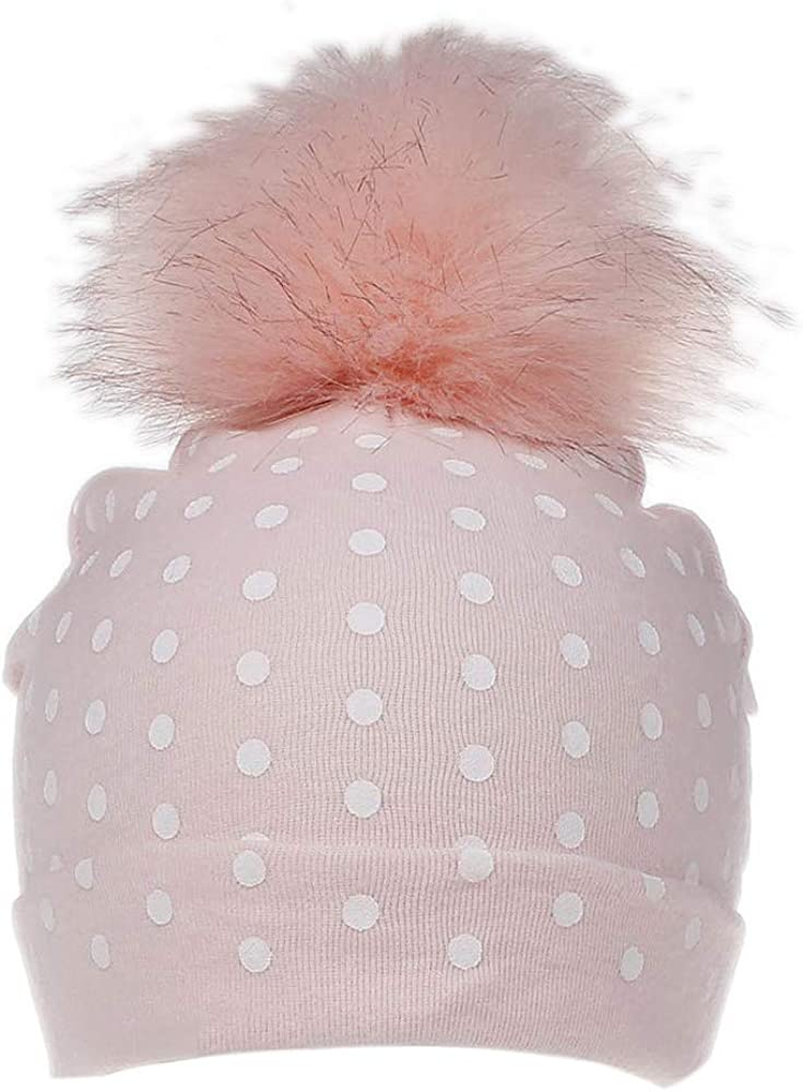 WARMSHOP Baby Girls Boys Dot Print Super Soft Cotton Hats with Fur Pom Pom Fall Winter Warm Hairball Beanie Caps
