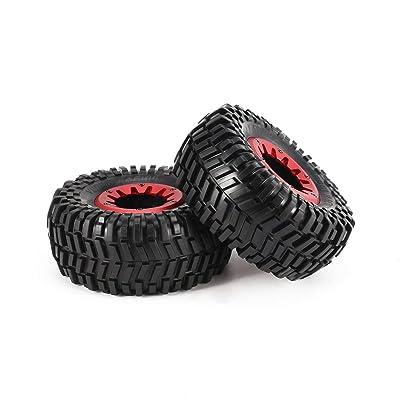2pcs 128mm Rock Wheel Wheel Rim et pneus pour 1/10 Traxxas HSP HPI ZD Racing RC Accessoires de Pneu de Voiture composant (Couleur: Jaune et Noir) Jeux et Jouets