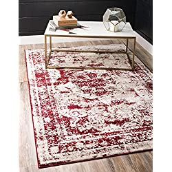 Unique Loom Sofia Collection Traditional Vintage Burgundy Area Rug (4' x 6')
