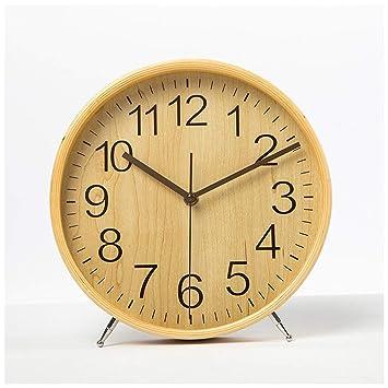 SMC Reloj de Madera Simple Moderno Moderno Adornos creativos Reloj de Mesa Mudo Personalidad Sala de Estar Dormitorio Relojes Decorativos (Color : Wood ...