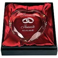 Herzkristall Hochzeit Personalisiert - Tauben, Ringe oder Herz -PARENT