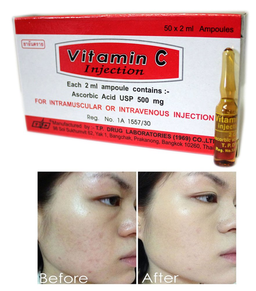 Pure Vitamin C Injection Ampoules 100 Skin Care Anti V Original Per Box Aging 20ml 500mgtotal50 Beauty