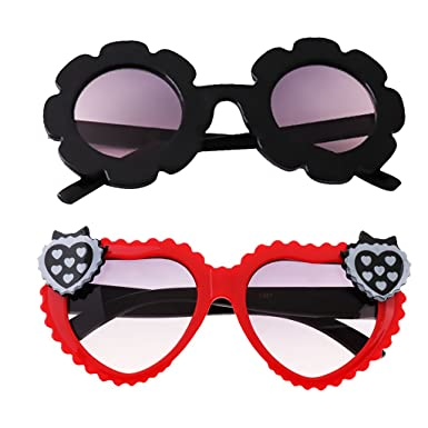 467978a8a0b59 Homyl 2Pcs Baby Kids Boys Girls Cute Flower UV400 Sunglasses Round Goggles  Glasses Gift - Black