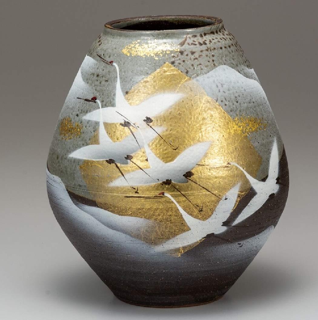 九谷焼 7.5号花瓶 金箔群鶴 B07SRF5S73
