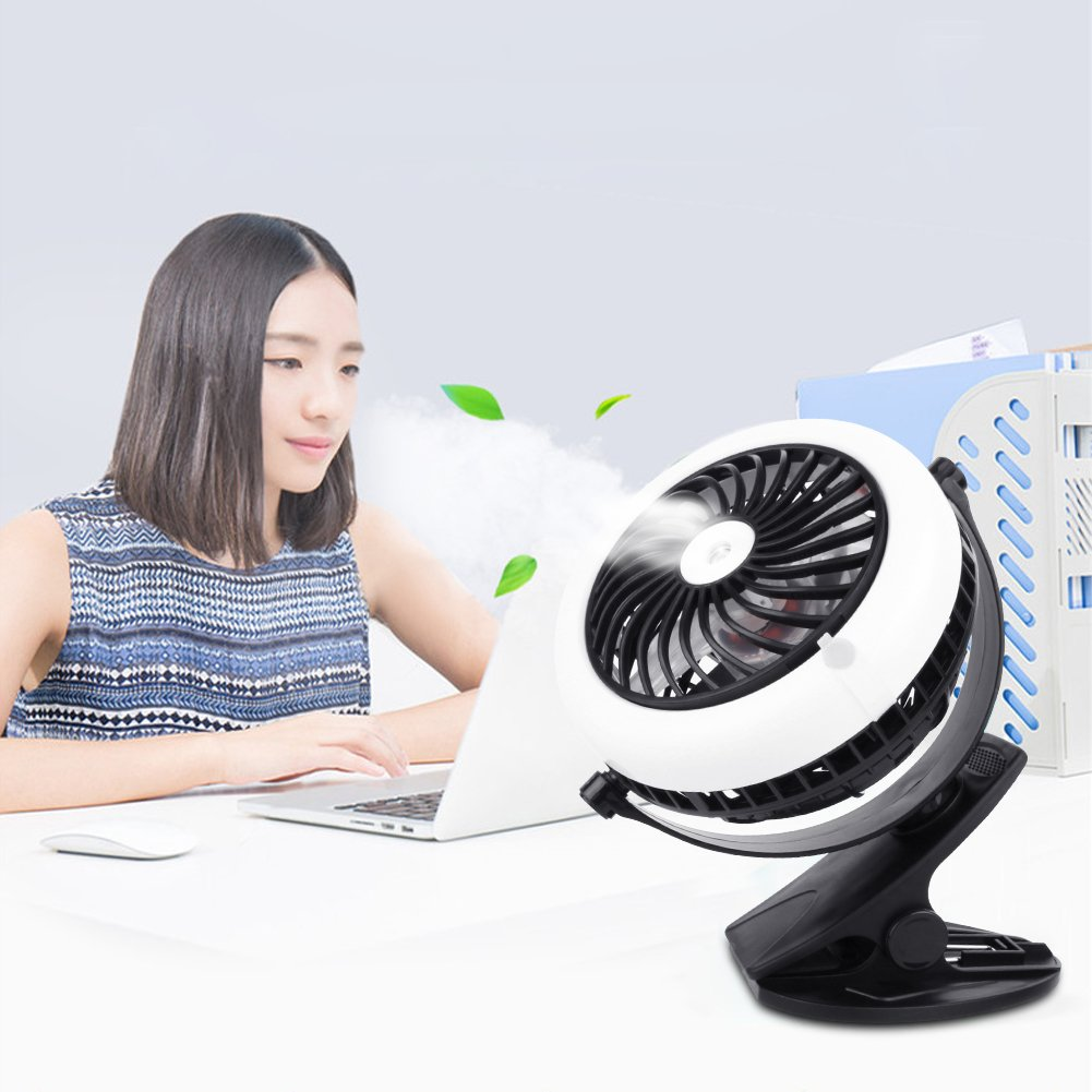 Misting Fan, Portable 2 in 1 Clip On USB & Battery Operated Cooling Fan Quiet for Baby Stroller Home,Office,Travel Black