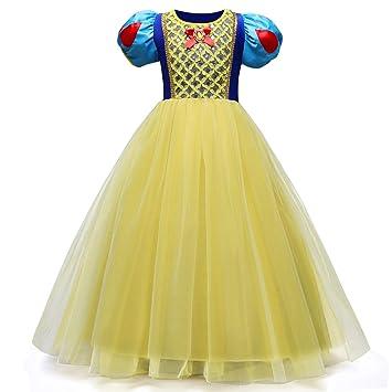 c3be76646ec65 QSEFT Robe Blanche-Neige Robe De Mariée Enfant Filles Cosplay Robe Longue  Enfant Vêtements Enfant