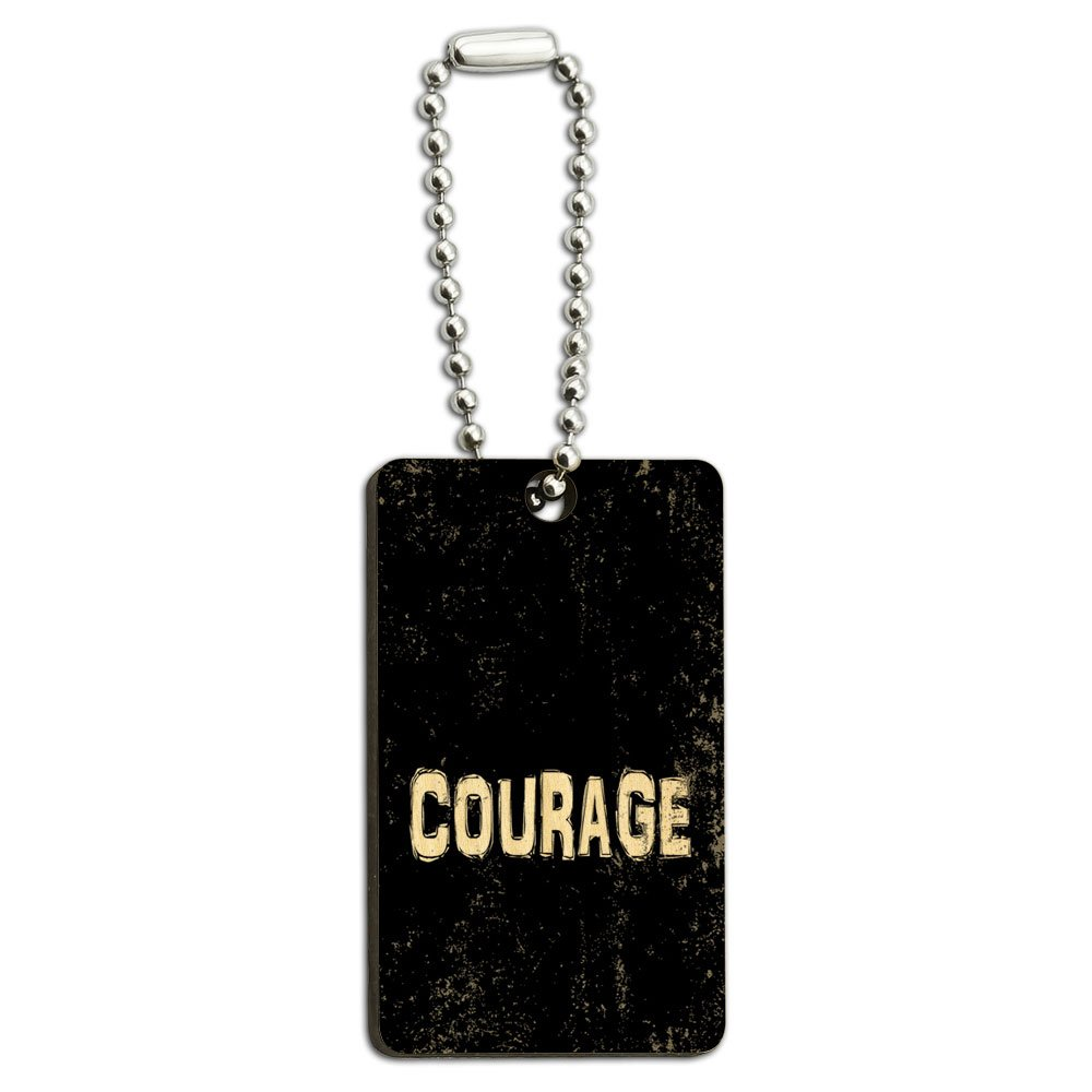 Courage Inspirational Wood Wooden Rectangle Key Chain