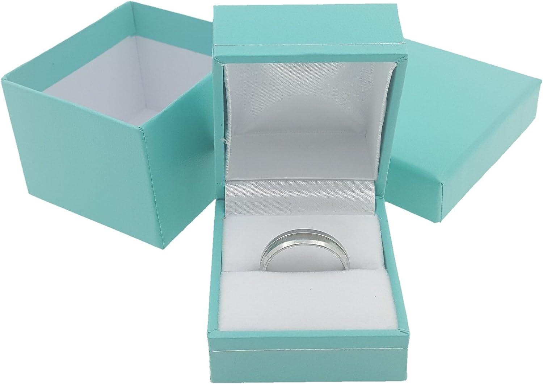 turquoise with white bow diamonique box Empty ring presentation jewellery box