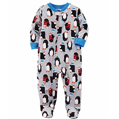 Carters Boys 1 Pc Fleece Grey Penguin Winter Pajama Sleeper 327G255 (12M)