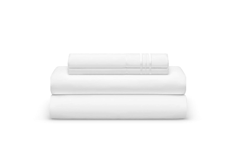 THE BEDSHEET CLUB フルベッドシーツセット – ホワイトラグジュアリーシーツセット – スーパーソフトホテル寝具ディープポケット – クール&しわ防止 – フィットシーツ1枚、フラット1枚、枕カバー2枚 – ホワイトリリーキング – 4ピース B07P5KD4FT