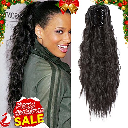 "AMELI Long Thick Yaki Curly Synthetic Ponytail Clip in Hair Extensions with Jaw Clip One Piece Soft Silky for Women Fashion and Beauty 20""145g(#1B)"