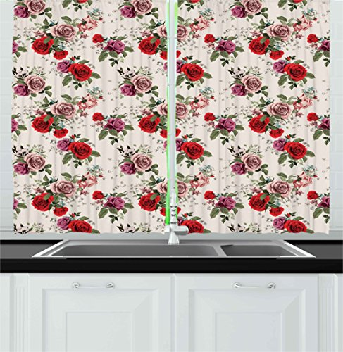 Shabby Chic Kitchen Curtains by Ambesonne, Summer Spring Romantic Valetines Day Themed Flowers Roses Leaf, Window Drapes 2 Panels Set for Kitchen Cafe, 55 W X 39 L Inches, Forest Green Red and Lilac (Valetines Gift For Him)