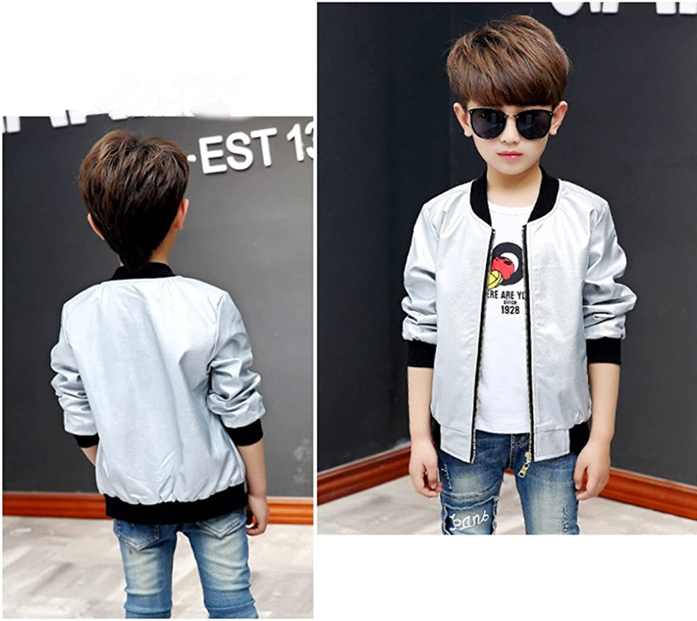 BellaPunk Kids Boys Bomber Jacket Gold Pu Leather Zipper Up Jackets Outwear