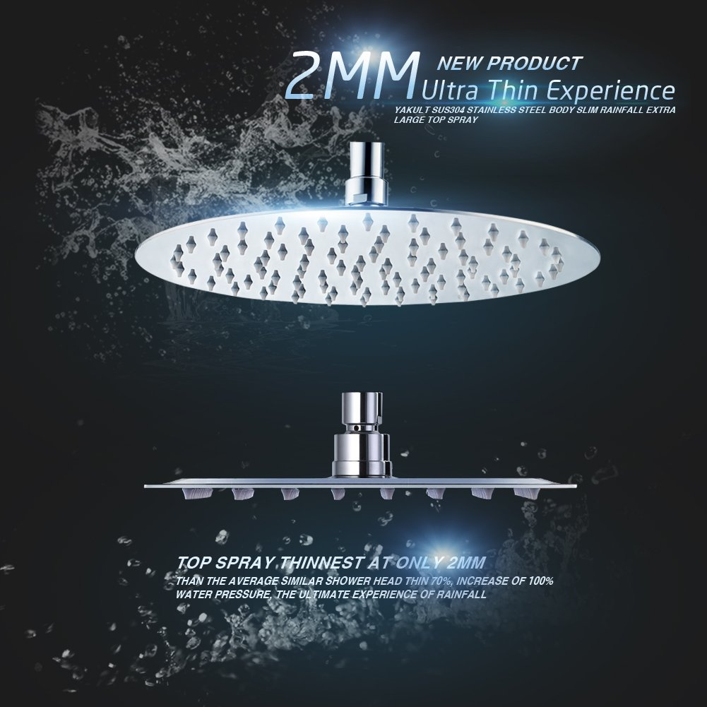 good SR SUN RISE 12-inch Luxury Round Rainfall Shower Head Wall Mount High Pressure Rain Showerhead Ultra Thin Chrome Finish 2.5 Gpm SRSH-1201G
