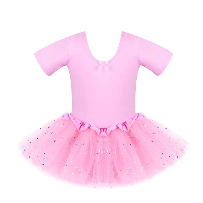 Amazon.com: Bindun Niñas tutú de ballet vestido gimnasia ...