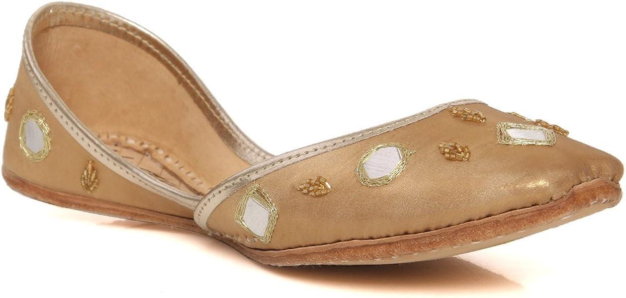 5c3d060eb1784d Unze New Women Traditional  Cavansite  Handmade Leather Flat Indian Khussa  Pump Slippers Shoes Size 3-8 - Un-07