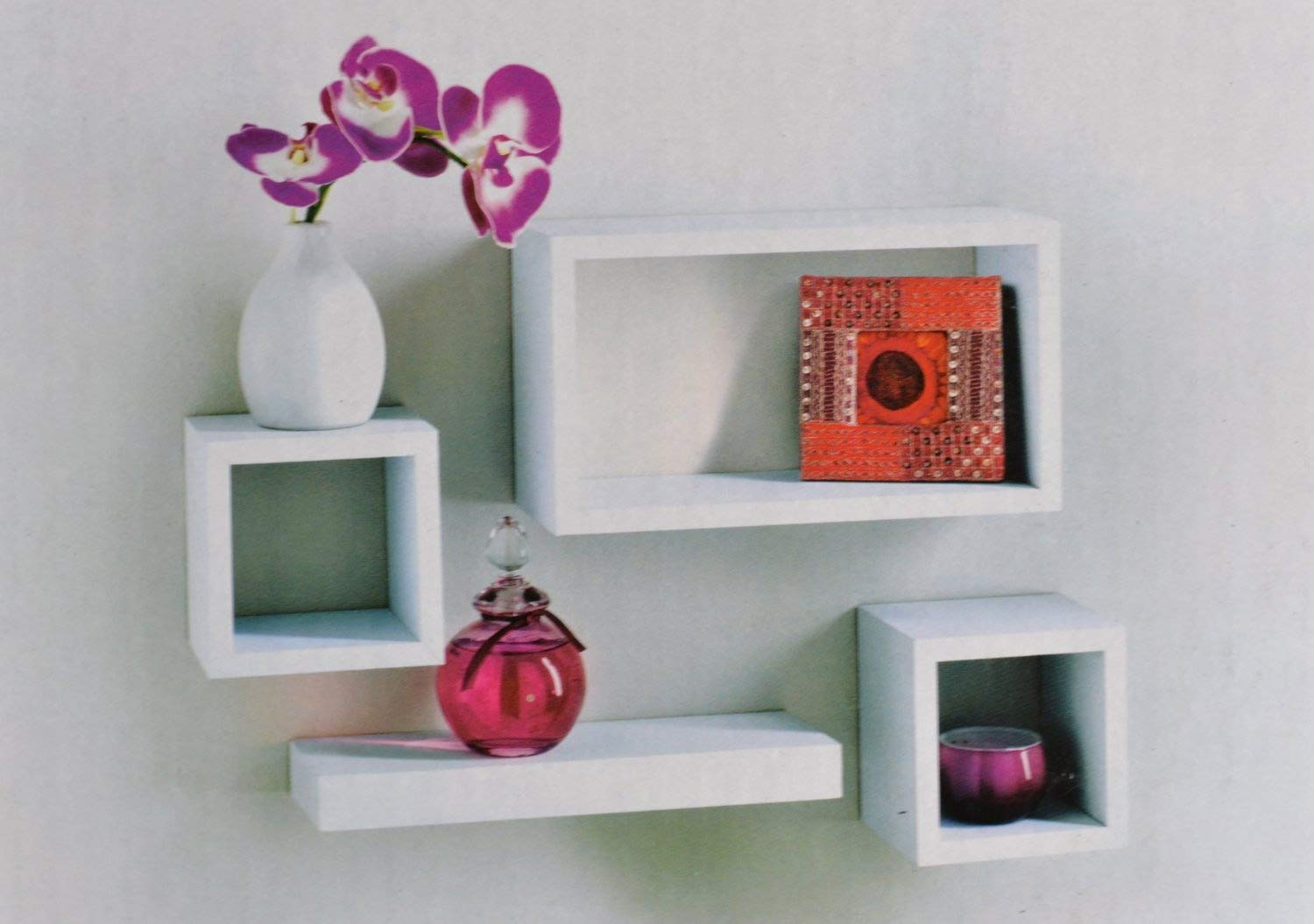 set of 4 floating wall storage display book cubes shelves stand shelf white