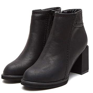 YR-R Tacones Altos De Moda Martin Boots Casual Heel Thick Heel 10cm Gamuza Botines