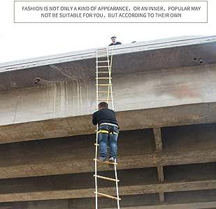Escalera de emergencia contra incendios, Escalera de agilidad de troncos reutilizables for exteriores de 5 M Escalera de ingeniería for escalar en casa con gancho, Escalera de rescate plegable al aire: Amazon.es: