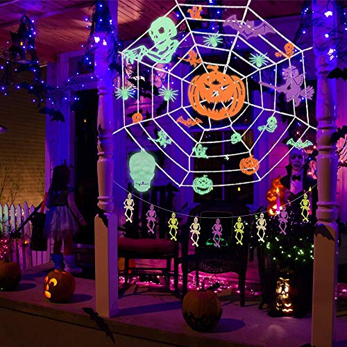 (37PCs Halloween Decorations Indoor & Outdoor 9.8x9.8 Feet Spider Web with Glow in the Dark Party Supplies,Halloween Party Favors for Kids, Ceiling and Wall)