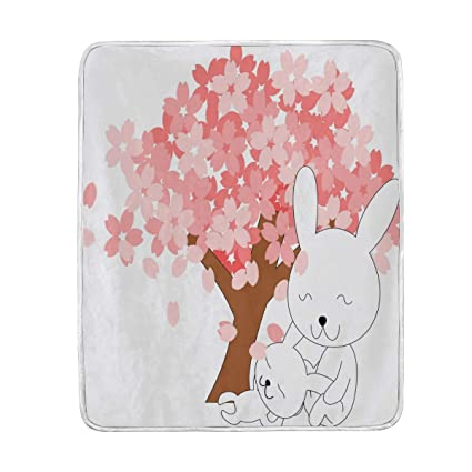Amazon.com  Cute Rabbit Flower Throw Blanket for Bed Couch Chair ... 66d59e280c