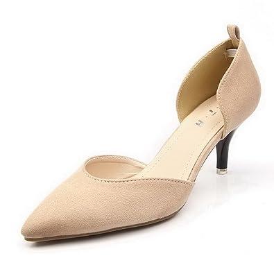 2299d759f92 AalarDom Women s Pointed Closed Toe Imitated Suede Buckle Kitten-Heels Pumps -Shoes
