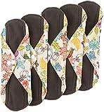 Wegreeco Bamboo Reusable Sanitary Pads - Cloth Sanitary Pads - Pack of 5 (Small, Camellia Beauty)