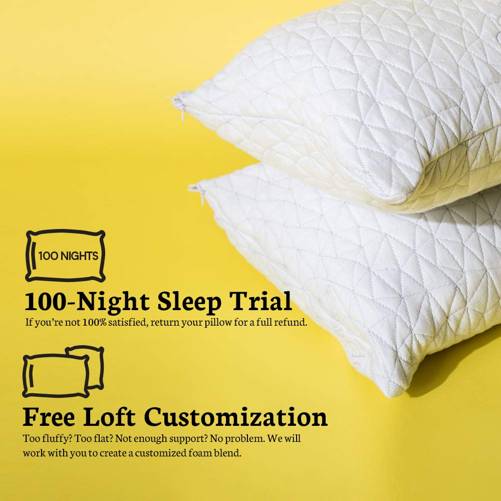 Lulltra Washable Cover from Bamboo Derived Rayon CertiPUR-US//GREENGUARD Gold Certified Premium Adjustable Loft Pillow Hypoallergenic Cross-Cut Memory Foam Fill Coop Home Goods Queen