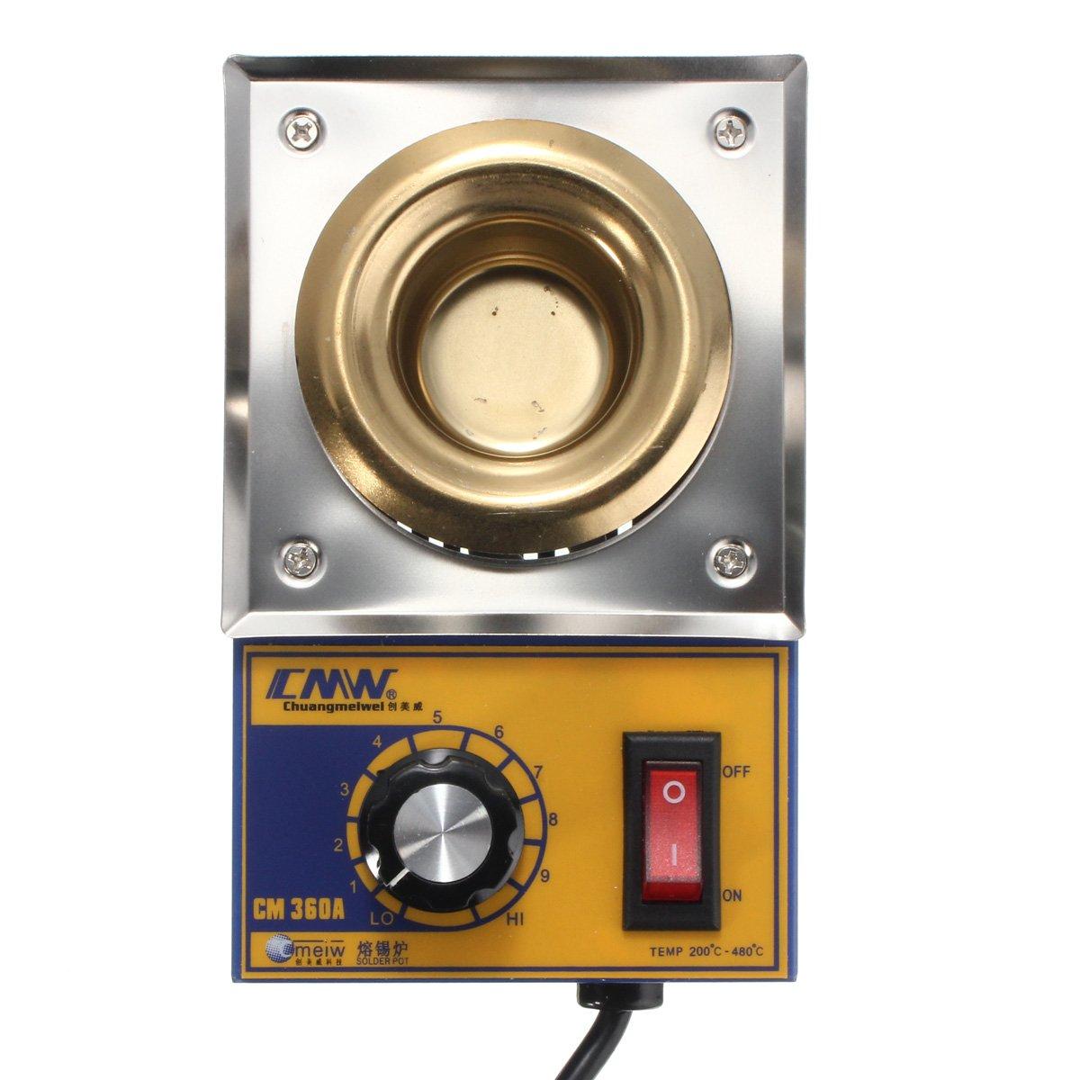OlogyMart CM360A 100W 200-480 Degree Solder Pot Soldering Desoldering Stainless Steel Plate