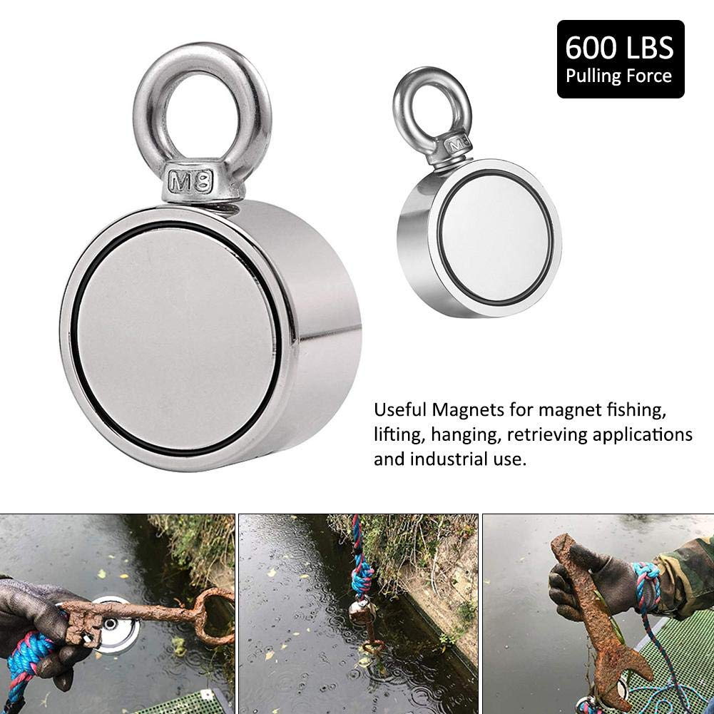 600 Lbs Strong Pulling Force Round Magnetic Hook for River Lake Fishing Strong Double-Sided Fishing Magnets Ring