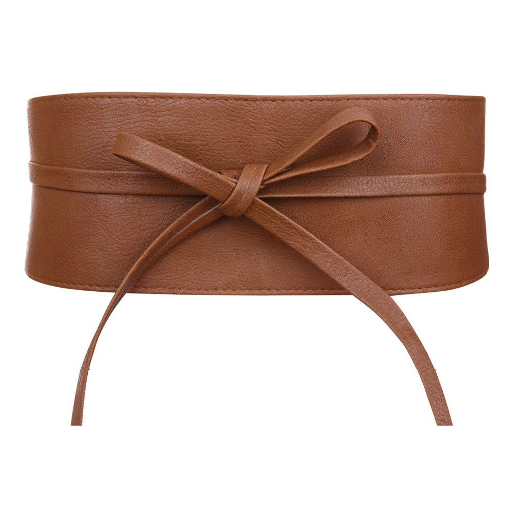 GRACIN Women's Fashion Faux Leather Wrap Around Obi Style Bowknot Wide Waistband Belt (One Size, Brown Faux Leather)