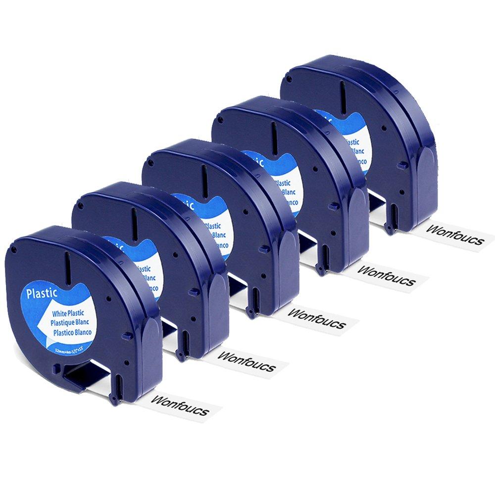5x Wonfoucs Compatibile Dymo LetraTag Nastro 91201 91202 91203 91204 91205 Plastica Nastri per etichette, 12mm x 4m, Compatibile con LT-110T LT-100H QX 50 XR XM 2000 Plus