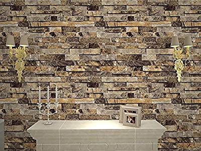 QIHANG Brick Wall Wallpaper / Embossed Textured Bricks L91302 Light Beige Color
