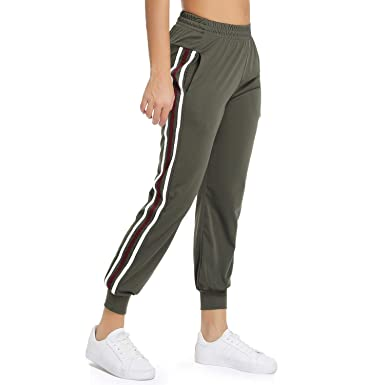 daa3f97972abbb FITTOO Women's White Stripe Side Patchwork Panels Jogger Pants Ankle Elastic  Running Sweatpants Army Green S