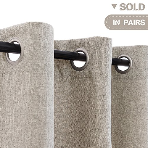 Room Darkening Curtains for Living Room 63 inch Linen Look Textured Moderated Blackout Curtains for Bedroom Beige Long Thermal Insulated Window Treatment Set 2 Panels