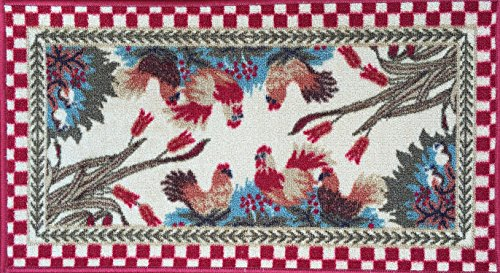 - Red Roosters Doormat. Non-skid rubber backed 18