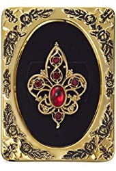 1928 Jewelry Framed Gold-Tone Red Crystal Filigree Pin