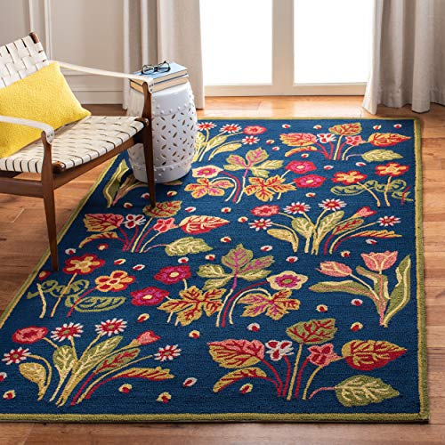 Safavieh Four Seasons Collection FRS465A Hand-Hooked Navy and Green Indoor Outdoor Area Rug 5 x 8